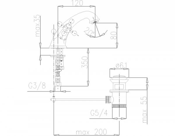 ARMATURA KRAKÓW - Retro Classic Bateria umywalkowa stojąca 382-825-00