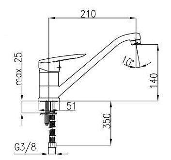 ARMATURA KRAKÓW - Bateria kuchenna zlewozmywakowa z obrotową wylewką INES 4503-825-00
