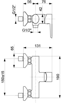 ARMATURA KRAKÓW KFA Bateria natryskowa ścienna NARVA BLACK 5226-010-81