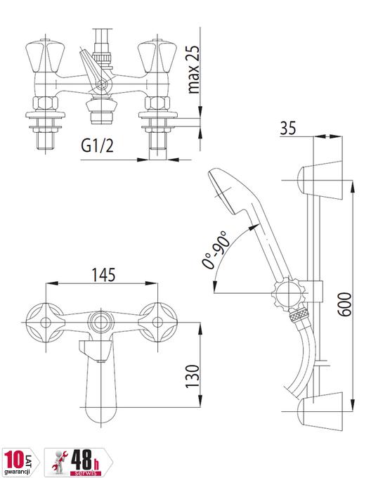 ARMATURA KRAKÓW - STANDARD bateria wannowa dwuuchwytowa stojąca 305-312-00