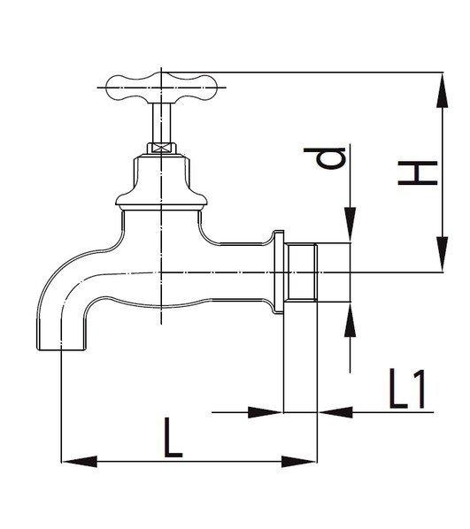 ARMATURA KRAKÓW - Zawór wodny, wypływowy 1/2 z rozetą 103-312-07