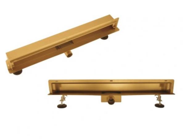 AQUALINE Odpływ liniowy ścienny złoty gold 2w1 pod płytkę 70cm S04GL700