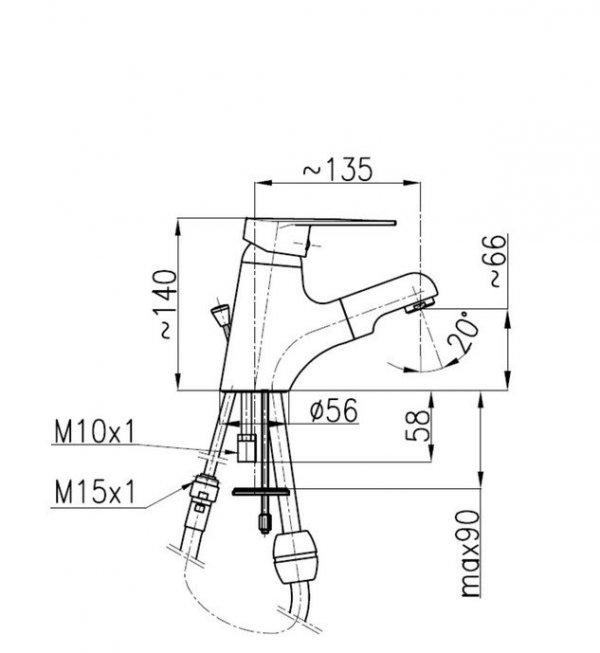ARMATURA KRAKÓW - Bateria umywalkowa w wyciąganym natryskiem TOPAZ 4012-112-00