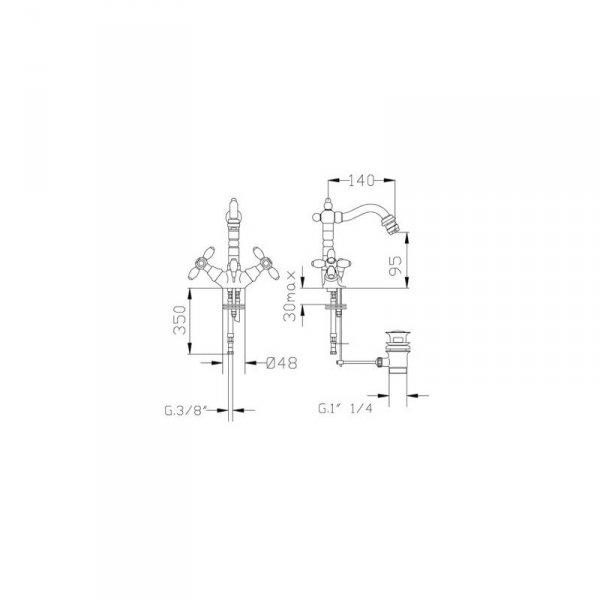 FROMAC - bateria bidetowa wysoka VICTORIAN 2302V brąz