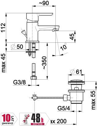 ARMATURA KRAKÓW - bateria umywalkowa stojąca GRANAT 5522-815-00