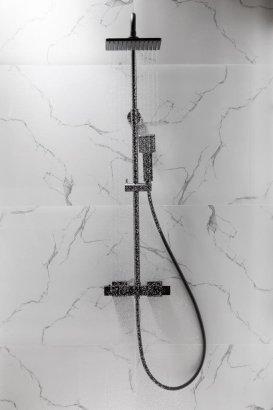 ARMATURA KRAKÓW KFA Zestaw natryskowy deszczownia z baterią termostatyczną LOGON BLACK 5746-910-81