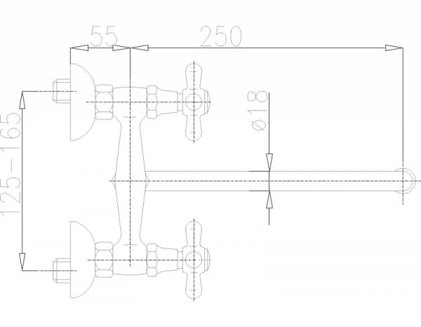 ARMATURA KRAKÓW - Retro Bateria zlewozmywakowa ścienna 370-640-00