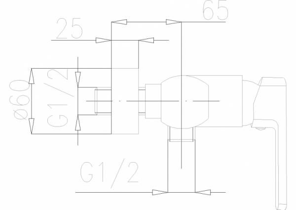 ARMATURA KRAKÓW - Korund Bateria natryskowa ścienna 4006-010-00