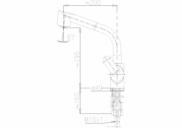 ARMATURA KRAKÓW - Cyrkon Bateria zlewozmywakowa z wyciąganym natryskiem 583-210-00
