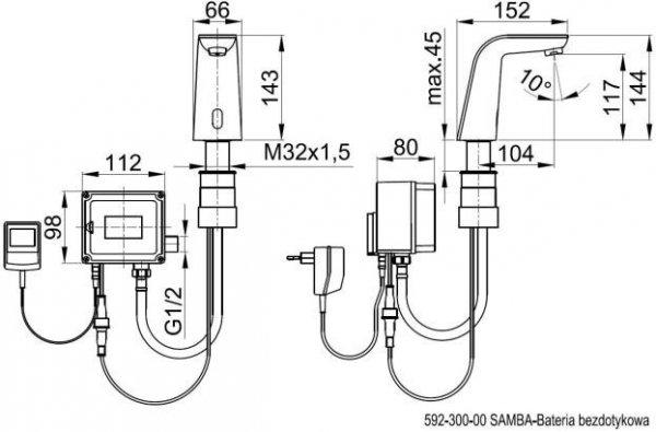 ARMATURA KRAKÓW - SAMBA bateria bezdotykowa, umywalkowa 592-300-00