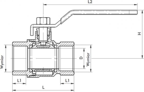 ARMATURA KRAKÓW - zawór wodny, pełnoprzepływowy, nakrętno-nakrętny z dławikiem 700-110-10