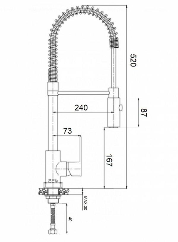 REIHE - Bateria kuchenna czarna stojąca wyciągana giętka wylewka ESEN ES-BZ-BL
