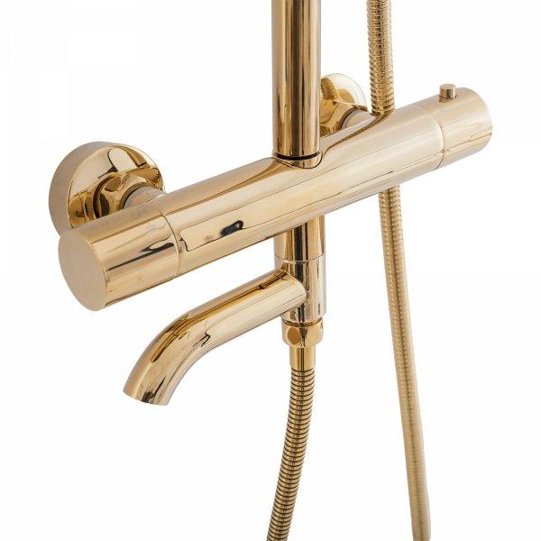 REA - Zestaw Prysznicowy Natryskowy z Termostatem LUNGO GOLD Złoty