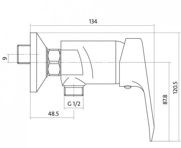 CERSANIT - Bateria natryskowa ścienna AMET Basic S951-027