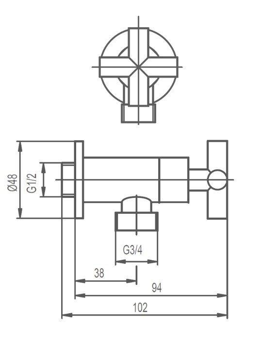 """ARMATURA KRAKÓW - Zawór wodny kątowy przepływowy uchwyt typu """"symetric"""" 244-130-00"""