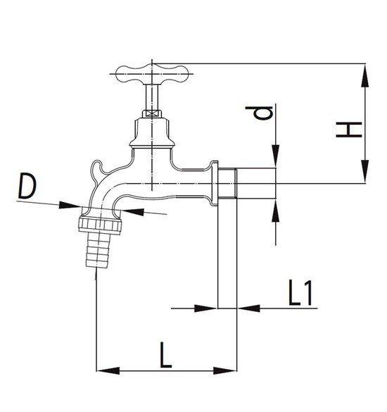 ARMATURA KRAKÓW - Zawór wodny, wypływowy 1/2 ze złączką do węża G3/4 i zaczepem 114-312-07