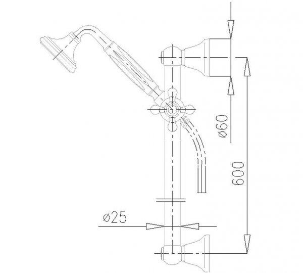 ARMATURA KRAKÓW - Zestaw natryskowy przesuwny RETRO CLASSIC 841-322-00