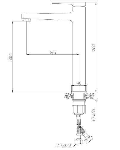 INVENA - Bateria Umywalkowa Wysoka MIDNIGHT Black/Gold Rose  Czarny/Rożowe Złoto BU-35-W14-V
