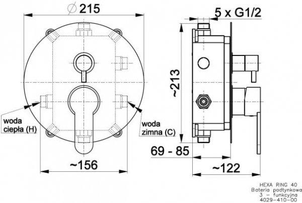 ARMATURA KRAKÓW - HEXA Bateria podtynkowa 3 drożna Ring 40 4029-410-00