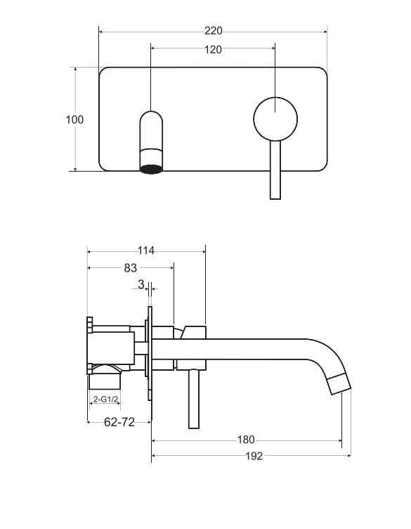 BESCO - Bateria umywalkowa podtynkowa ILLUSION ZŁOTO/GOLD BU-IS-ZŁ
