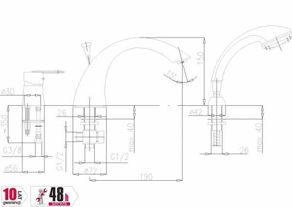 ARMATURA KRAKÓW - Cyrkon Bateria wannowa 3-otworowa 585-210-00