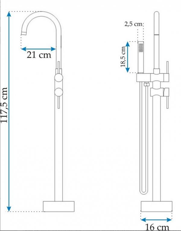 REA - Bateria WYSOKA podłogowa wannowa ORTIS do wanien wolnostojących