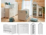 LAMARE Babyzimmer / Kinderzimmer Sparset | 4-teilig | Kinderbett + Kommode + Schrank + Regal | weiß