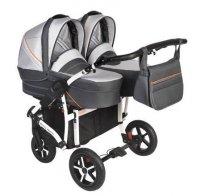 Zwillingskinderwagen/ Geschwisterwagen TWIN Basic, SILBER/ Grau | + Pannensichere Räder KOMFORT+