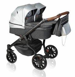 Zwillingskinderwagen/ Geschwisterwagen TWIN Quick | Gestell in Schwarz mit Comfort+ Räder | Hellgrau/ Silver