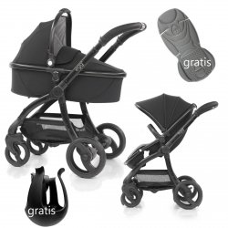 Kombikinderwagen EGG Stroller | Babywanne + Sportsitz +Alu-Gestell | + Becherhalter &  Sitzauflage gratis | Just Black