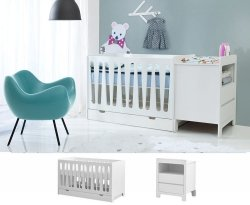 WOLKE Kinderzimmerset 2-teilig | Babybett mit Lattenrost und Rausfallschutz + Kommode (klein) | weiß