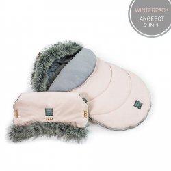 SUPERANGEBOT | Winterpack FLOO: Fußsack & Handwärmer | antiallergen & atmungsaktiv | Puderrosa/ Grau