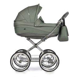 Kombikinderwagen Classico Emma | 2 in1 SET mit Babywanne & Sportsitz | Chromgestell mit grauem Griff | Deep green/ GRÜN mit Pünktchen