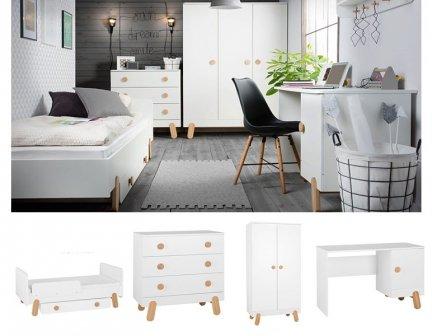 DOTTY Kinder-/Jugendzimmer Sparset | 4-teilig | Jugendbett + Kommode + Schrank + Schreibtisch | weiß