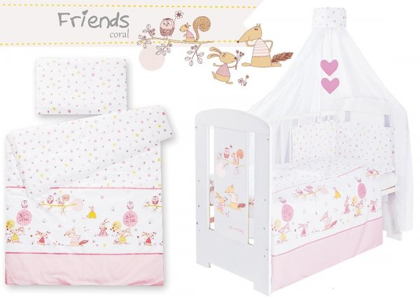 Babybett | Gitterbett | Kinderbett LOVELY BIRDS BLUE | Kiefer massiv | Weiß lackiert