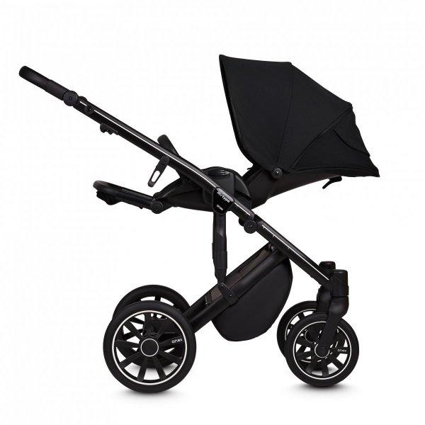 ANEX m-Type NOIR BLACK | Kombi-Kinderwagen 2 in 1 mit Babywanne und Sportwagen | oder 3 in 1 mit Autoschale