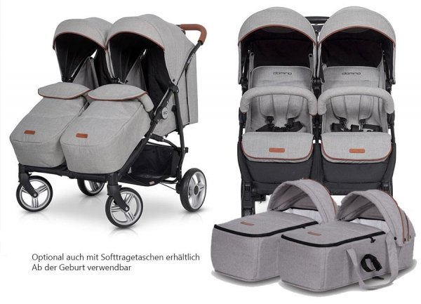 Zwillings-/ Geschwisterbuggy | Zwillingswagen TWIN DOMINO | Anthracite