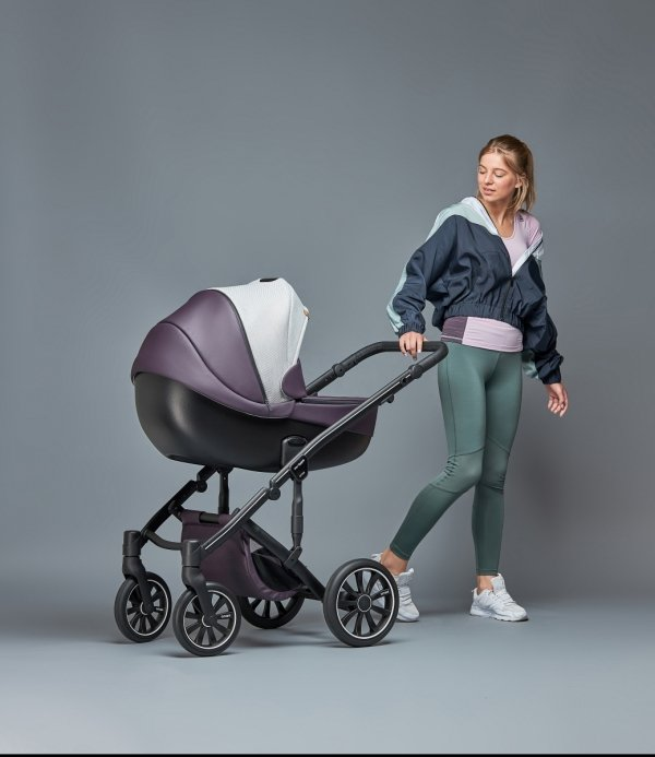 ANEX m-Type MOCCO/ Latte/Schwarz| Kombi-Kinderwagen 2 in 1 mit Babywanne und Sportwagen | oder 3 in 1 mit Autoschale