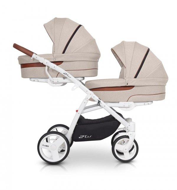 Zwillingskinderwagen/ Geschwisterwagen 2ofUs / EasyGO / Komplett-Set mit 2 Liegewannen und 2 Sportsitzen |Gestell in Weiß | LATTE/ Beige