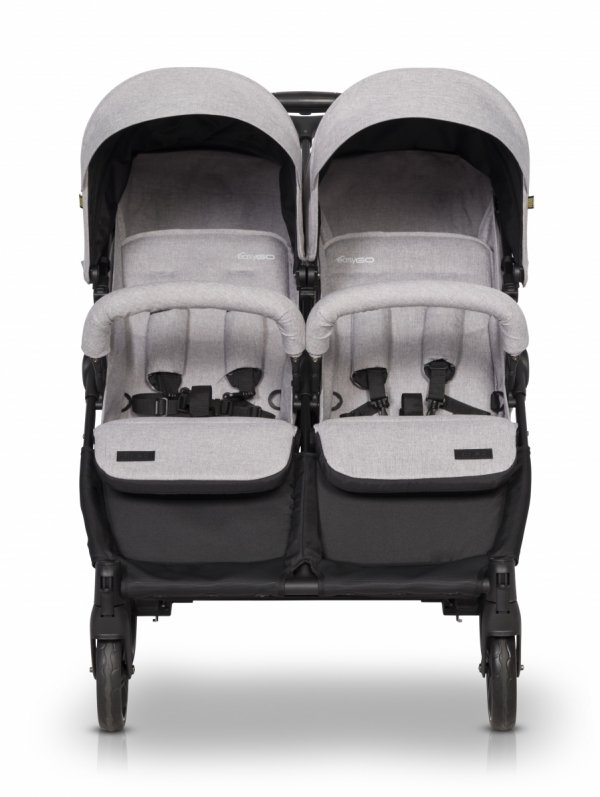 Zwillings-/ Geschwisterbuggy | Zwillingswagen TWIN DOMINO | COAL/ Anthracite grau