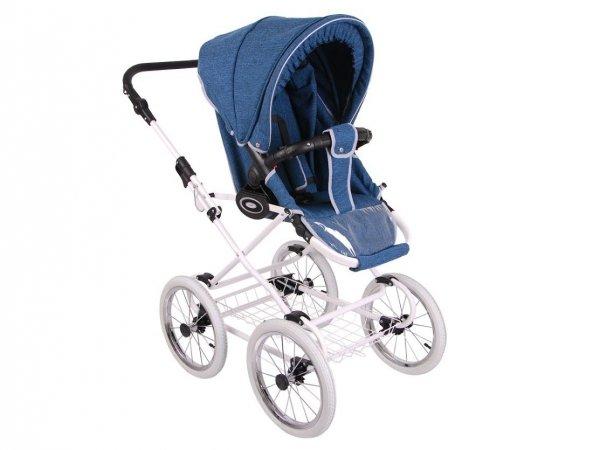 Retro Deluxe | 2 in 1 mit Liegewanne und Sportwagen | oder 3 in 1 mit Autoschale | Kombi-Kinderwagen | Blau, Naturweidenkorb in Weiß