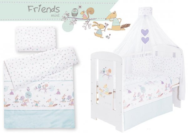 Babybett | Gitterbett | Kinderbett SECRET FOREST GREEN | Kiefer massiv | Weiß lackiert