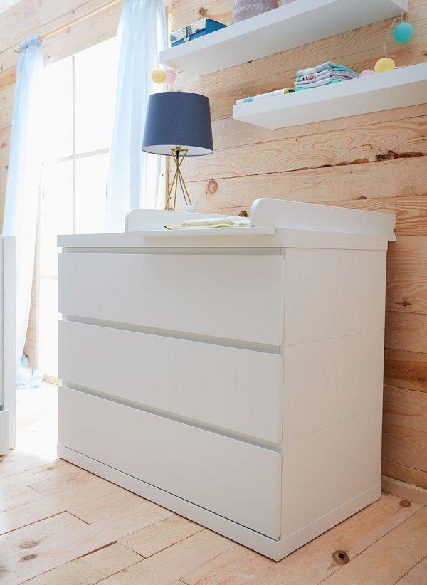 LORA Babyzimmer / Kinderzimmer Sparset | 3-teilig | Kinderbett 140 x 70 cm + Kommode + Schrank 3-türig | weiß matt