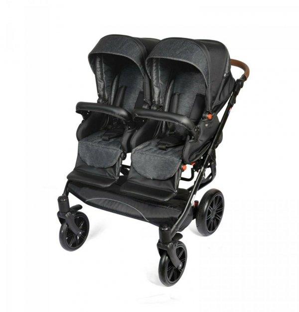 Zwillingskinderwagen/ Geschwisterwagen TWIN Quick | DUNKELGRAU| Gestell in Schwarz mit Comfort+ Räder