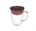 Kubek z zaparzaczem do kawy 350 ml PAO Duo Dripper (czarno-czerwony)