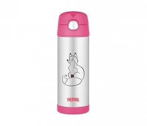 Kubek dla dzieci ze słomką Thermos FUNtainer 470 ml (stalowy/różowy) motyw lis
