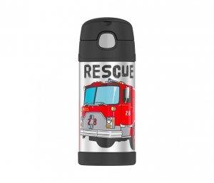 Kubek dla dzieci ze słomką Thermos FUNtainer 355 ml (stalowy/czarny) straż pożarna