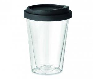 Kubek termiczny szklany TUMBI Glass 350 ml (bezbarwny/czarny)