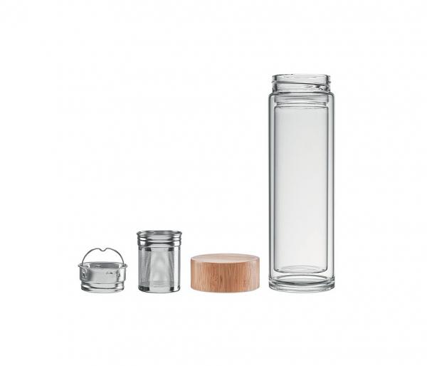 Termos szklany z dwiema ściankami z zaparzaczem