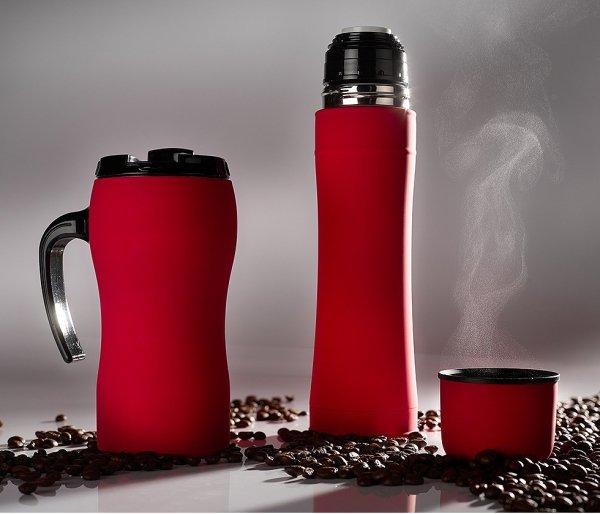 Zestaw FLUO termos 500 ml + kubek termiczny z rączką 450 ml gumowany czerwony